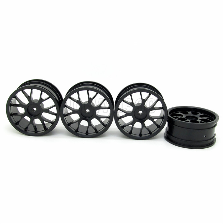 1:10 On Road RC Car Wheel Rims Y Type Spokes Black Aluminum Alloy RC Car Parts (4PCS)(China (Mainland))