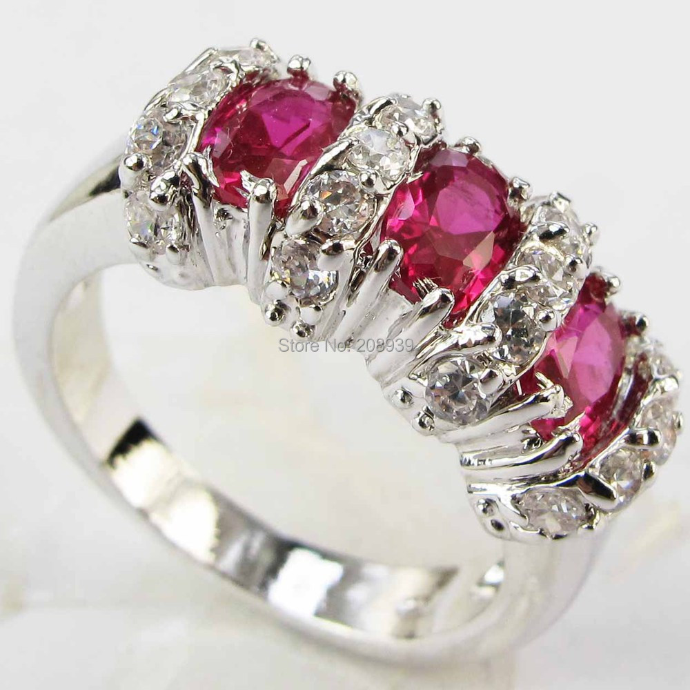 Stunning Fashion 4.2CT Synthetic Ruby Zircon Heavy 14K White Gold Plated Ring 1217(China (Mainland))
