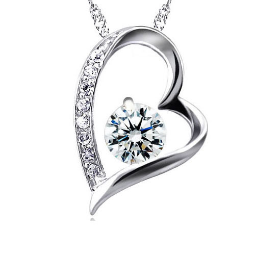 Necklaces & Pendants Silver Plated CZ Diamond Accent Meticulous Design Heart Shaped Pendant Necklace For Women Gifts 18''(China (Mainland))