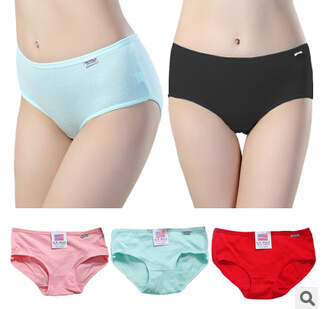 women underwear Ladies fashion candy color full cotton briefs free shipping(China (Mainland))