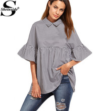 Sheinside Women Blouses and Tops European Style Korean Women Clothing Striped Ruffle Sleeve Babydoll Top Blouse(China (Mainland))