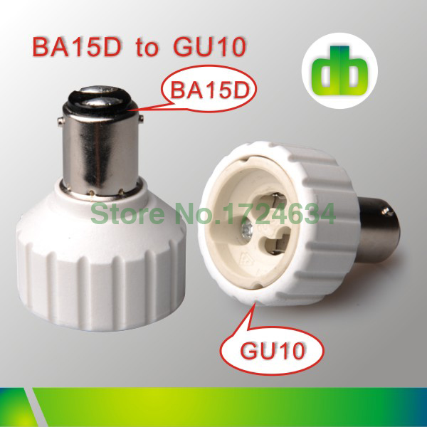 12pcs white PBT BA15D a GU10 or BA15D to GU10 lamp base adapter 85-220V for led light made in china(China (Mainland))