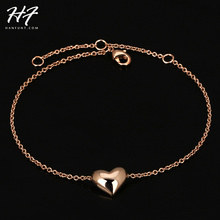 Top Quality Simple Smooth Small Heart 18K Rose Gold Plated Bracelet Jewelry  Wholesale H199(China (Mainland))