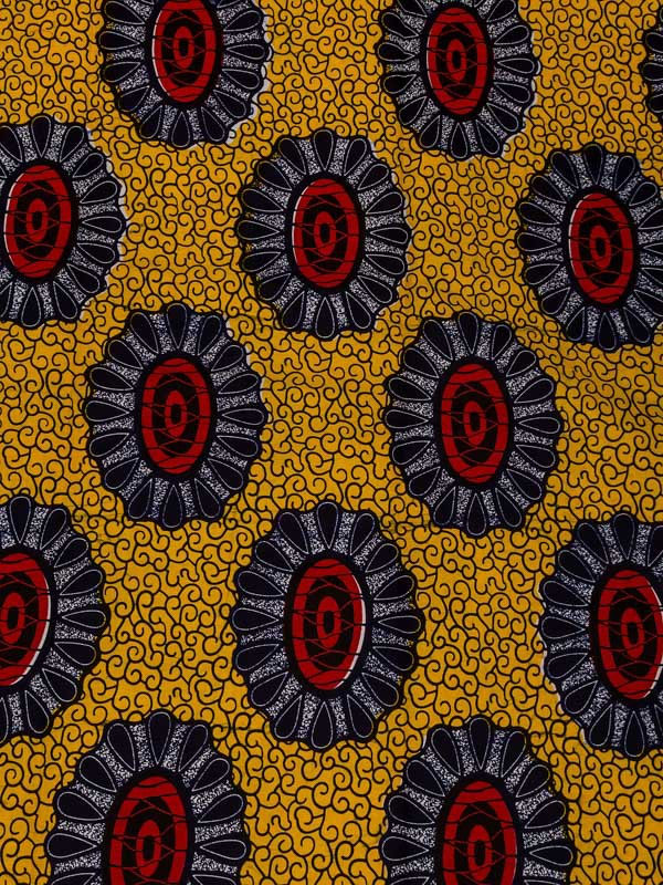 African Exclusive Real Wax Print Textiles Red Sunflower 6 Yards Church rw508311(China (Mainland))