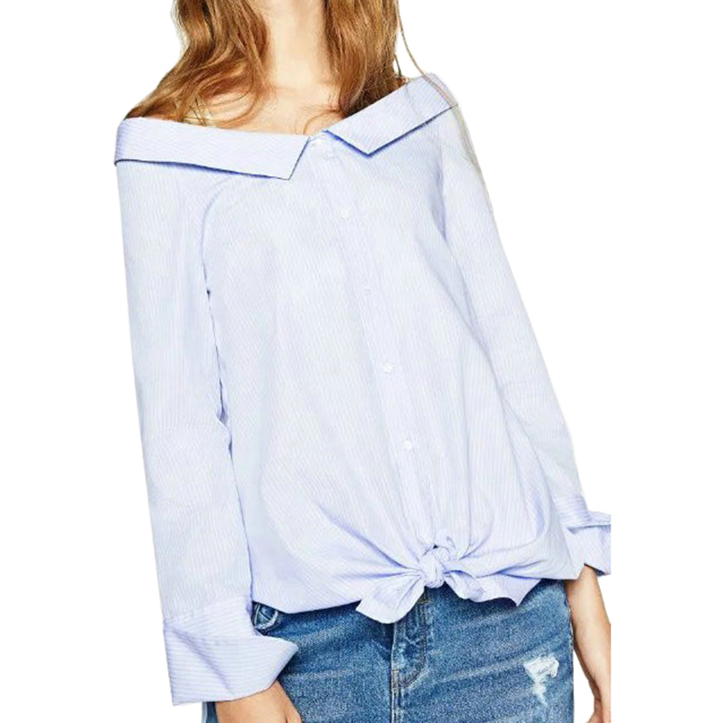 BE131 Fashion Women Elegant Blue Striped Blouses Turn-down Collar Long Sleeve Shirt Work Wear Button Casual Tops Office 2016(China (Mainland))