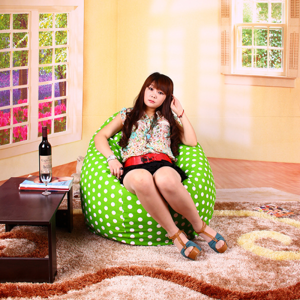 Фотография FREE SHIPPING large bean bags green dot bean bags chairs cotton bean bag  sofa chair luxury sofa  bean bag covers only