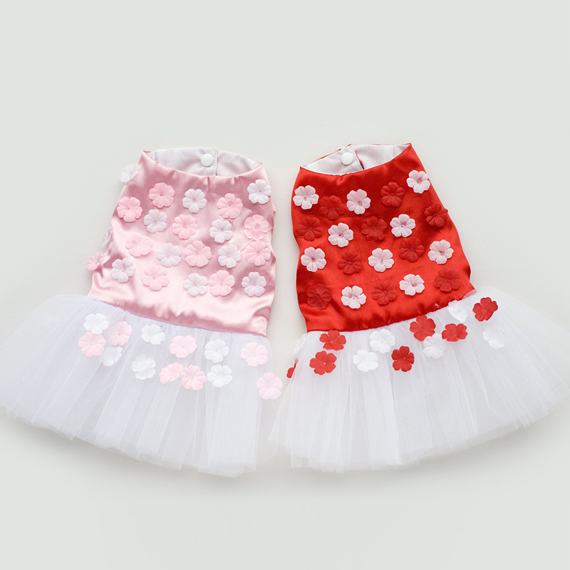 Hot Red&Pink Petal Printed Tutu Dress, Lace Flower Pets Skirt , Cute Dog Clothes Chihuahua, Vestido Cachorro Pet Free Shipping(China (Mainland))