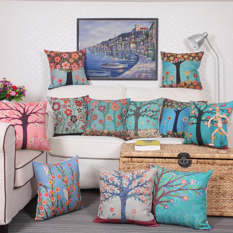 2016 American village Decorative Throw Pillows Case Linen Cotton Cushion Cover Creative Decoration for Sofa Car Covers 45X45cm(China (Mainland))