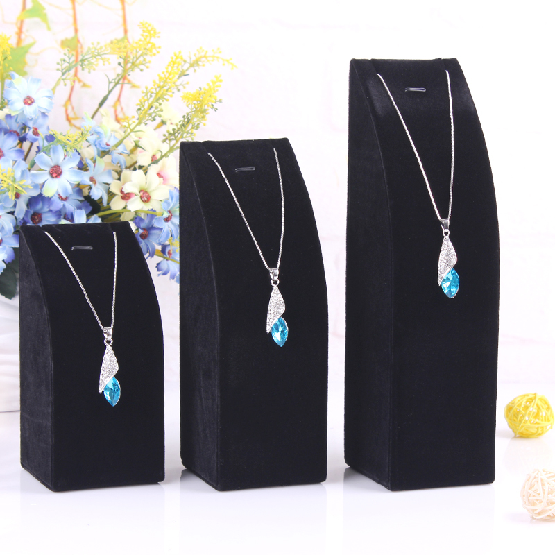 High Quality Black Velvet Feeling 1 set order of 3 sizes S M L Necklace display charm jewelry box stand pendant chains holder(China (Mainland))
