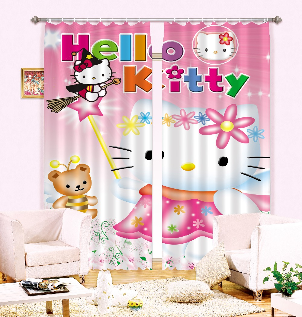Hot products to sell online 3d digital printing design hello kitty curtain blinds for kid bedroom furniture(China (Mainland))