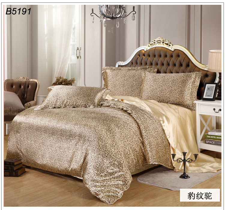leopard print silk bedding set COOLEYE tencel bedclothes satin bed set Leopard silk linen zebra stripes bed cover NEW 5191(China (Mainland))