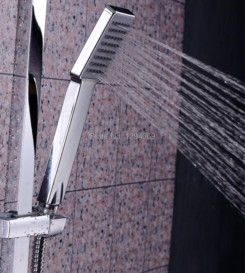 Universal Handheld Chrome Water-Saving Pressure Rainfall Square Nickel ABS Hand Held Shower Head Handshower For Bathroom(China (Mainland))