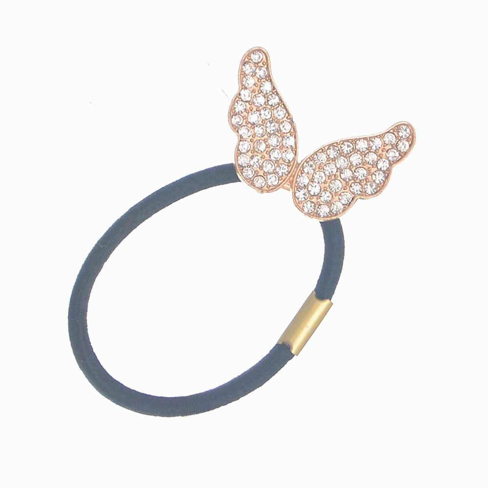 New Korean Women Headwear Accessories Rhinestone Butterfly Elastic Hair Band/Ties Ponytail Holder Hairband For Woman JF190(China (Mainland))