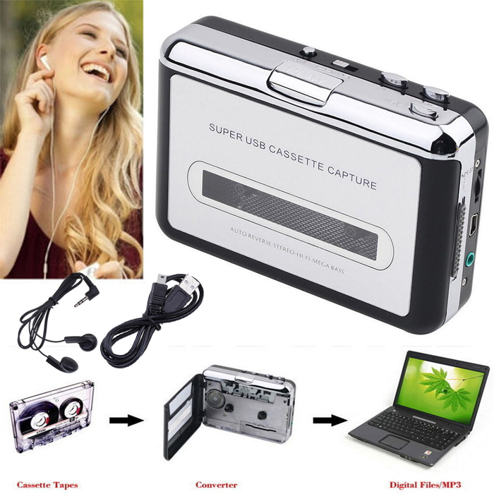 Portable Old Cassette Tape CD Convert to MP3 WAV Converter Cassette To USB Audio Captuer Walkman Music Player with Earphone(China (Mainland))