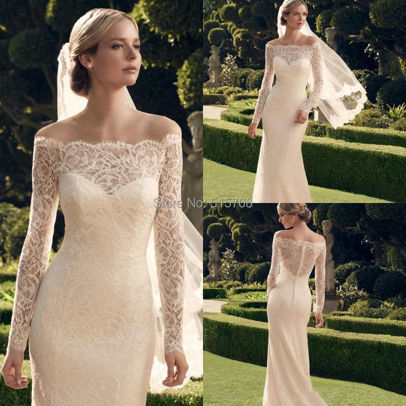 Buy Beautiful Lace Wedding Dresses Off The Shoulder Long Sle