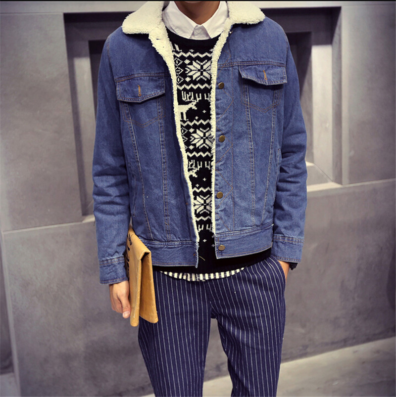 2015 Winter Collection Men Clothing Jeans Coat Outwear Fur Collar Wool Denim Jacket Thick Clothes Plus Size S-2XL