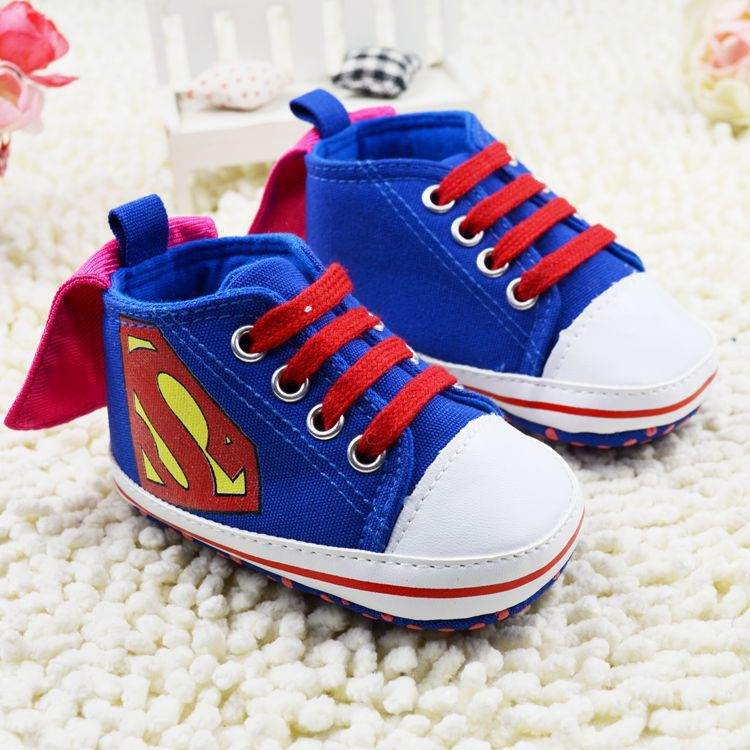 First step Lovely canvas boys sneakers Toddler Moccasins super man baby shoes for spring new born boy Infant Shoes 0~18months(China (Mainland))