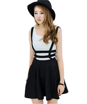 Spring Women's skirt Preppy Style Suspender saia Ruffles Skater Pleated tennis skirt Short women Ball Gown Mini Braces vintage