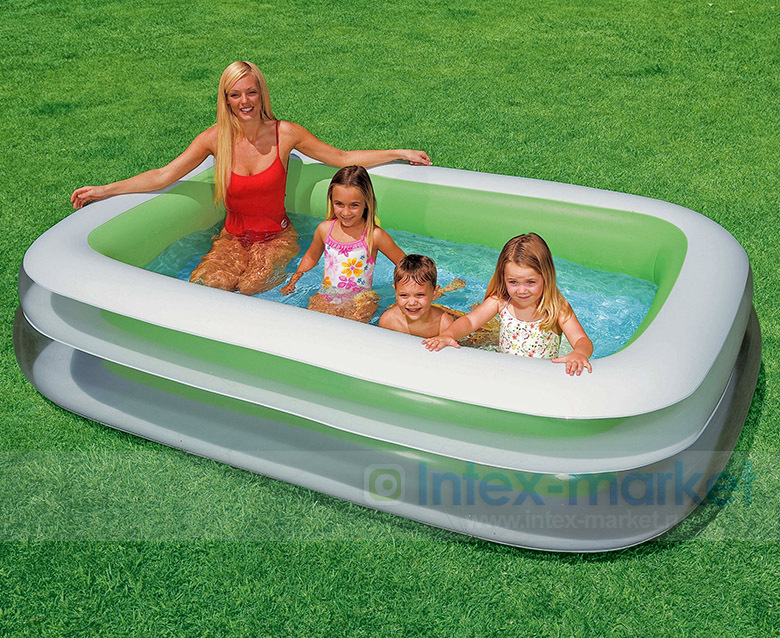 INTEX Inflatable Swimming Pool Backrest with Seat Family Swimming Pool Inflatable Pool Square Summer Baby Swimming Pool(China (Mainland))