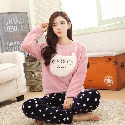 2016 Winter Flannel Couple Pajamas Set of  & Trousers Lover Sleepwear Men & Lady Casual Home Clothing