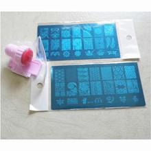 2 x Fashion DIY Polish Beauty Nail Art Image Stamp Stamping Plates+ 1 Silicone Nail Stamp 3D Nail Art Templates Stencils ZH2