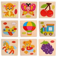 1 PC Hot Stylish Cartoon Wooden Puzzles High Quality Wood Educational Developmental Baby Kids Training Toy 3D Wooden Puzzle Toy(China (Mainland))