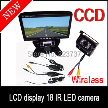 "2.4G Wireless Infrared Night Vision Waterproof Rear View CCD Reversing Camera + 7 ""TFT Car monitor Kit for Bus / Truck"