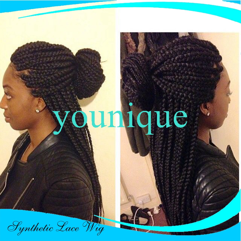 Natural Black Straight Braided Synthetic Lace Front Wig Heat Resistant 14-26 Inch Big Box Braids Lace Front Wigs For Black Woman<br><br>Aliexpress