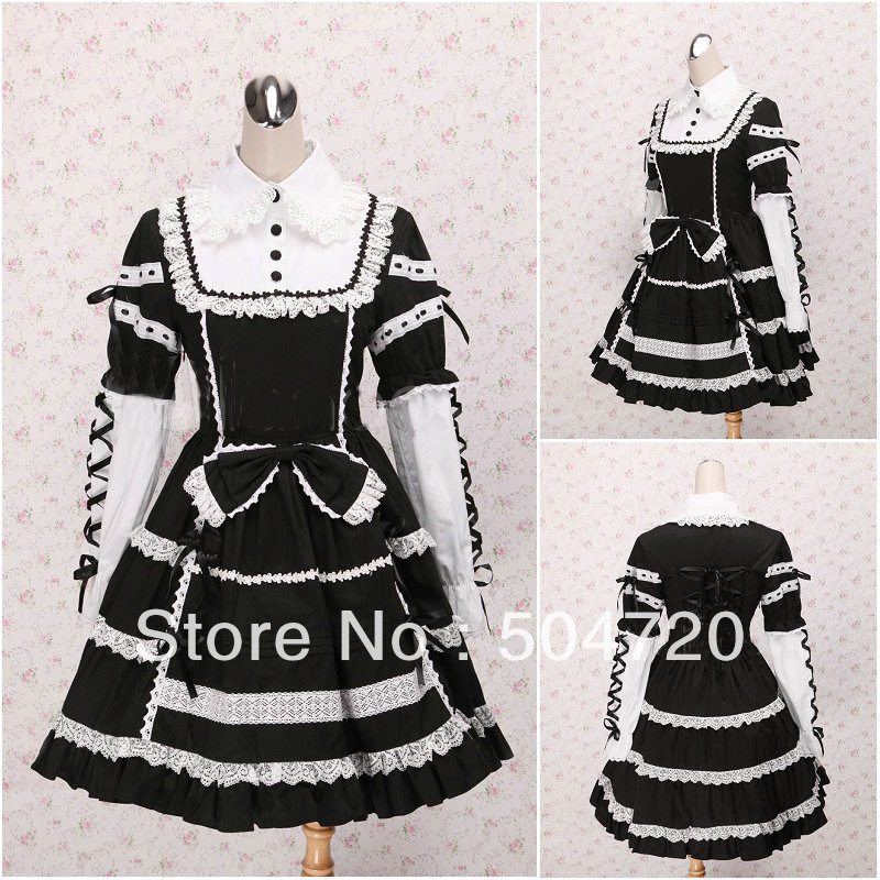 Freeshipping!ON SALE! Black Cotton long-sleeve Gothic Lolita dress/victorian dress/Halloween/Civil war dress US6-26 V-1004