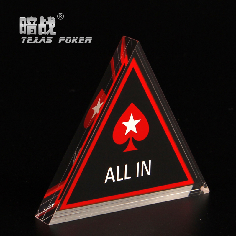 Hot Sale Poker All In Button Triangle Acrylic All In Button Texas Hold'em PokerStars ALL IN Poker Cards Guard Poker Chips Dealer(China (Mainland))