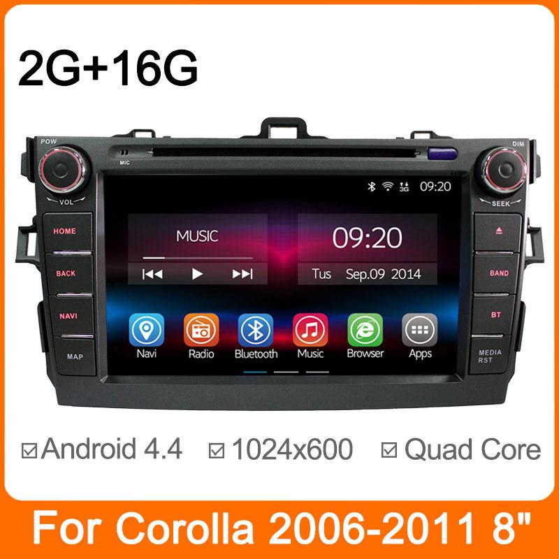 Quad Core In-dash Auto Radio GPS for Toyota Corolla 2007 2008 2009 2010 2011 2012 Android 4.4 Car DVD Player RAM 2G/16G 1024*600(China (Mainland))