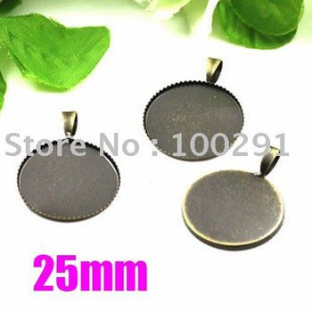 25mm Antique Brass Bronze Pendant Base Blank Jewelry Findings Jewelry Accessories Nickel Free!!