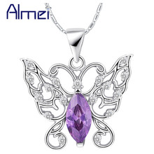 Purple CZ Rhinestone Necklace 2015 Trendy Fashion Crystal Women's Accessories Girls Gift Cute Butterfly Pendant Collares N1039(China (Mainland))