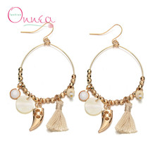 (12 pairs/lot) Wholesale Great Circle Beads Tassel Drop Earrings New fashion Tassel Horn Shell Pendant Big Earrings for women(China (Mainland))