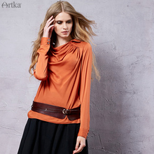 Artka Women's 2015 Autumn New Vintage Solid Color Chiffon Blouse Comfortable Long Sleeves Casual Shirt SA10352Q