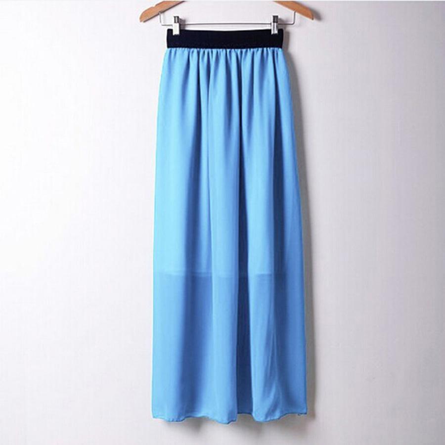 2016 Casual Spring Summer Bohemian Style Pleated Chiffon Straight Long Skirt Women High Waist ...