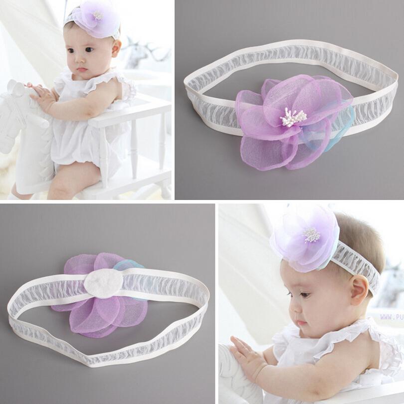 2016 New Fashion Korean Princess Baby Headband Purple Simulated Yarn Big Flower Hairbands Kids Girls Headwear Hair Accessories(China (Mainland))