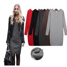 women autumn winter 2015 casual  dress bodycon women's clothing sheath Cashmere Warm Dresses Long Sleeve(China (Mainland))