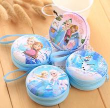 hot sale cartoon coin purse Elsa Anna princess girls key case wallet children snow queen headset bag coin bag(China (Mainland))