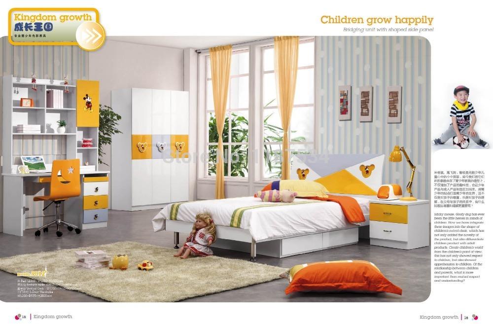 9012 Modern home furniture children bedroom furniture set wooden bed wardrobe desk chair bedside cabinet(China (Mainland))