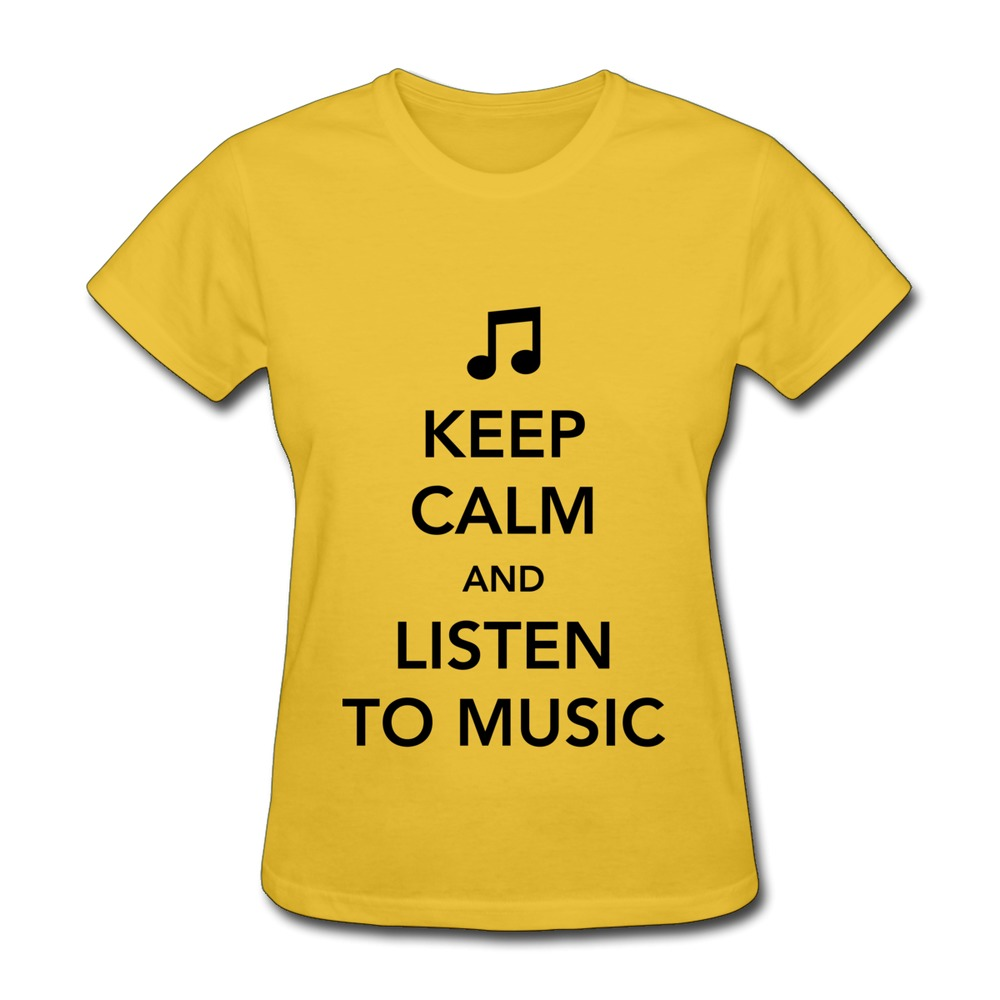 2015 Discount Keep Calm and Listen to Music Lady's t-shirt Funny Short Sleeve Pre-cotton 3D T Shirts(China (Mainland))