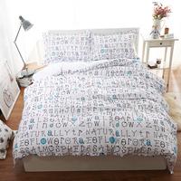 Cotton Letter Bedding Set Queen Size,White Double Duvet Cover Set Bed Sheet Linen Set,Bedclothes For Wedding #CM1562