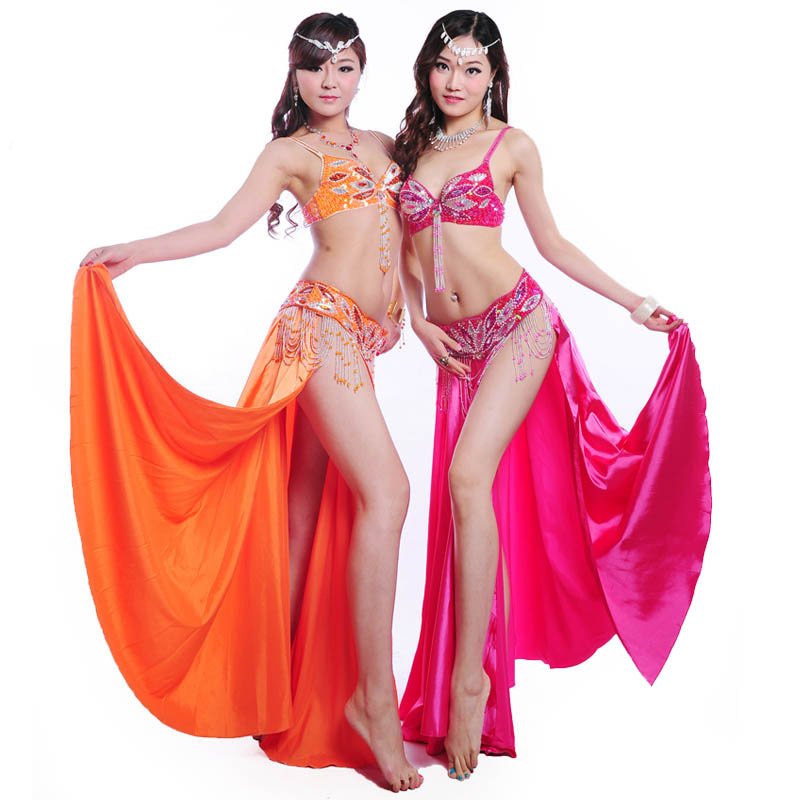 2015 Wholesale women belly dance bra belt set cheap belly dancing professional costumes on sale(China (Mainland))