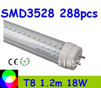 factory price T8 LED Tube 1200mm Light 18W SMD288pcs Warm White/Cool White 1800lm PC Cover high quality  50pcs