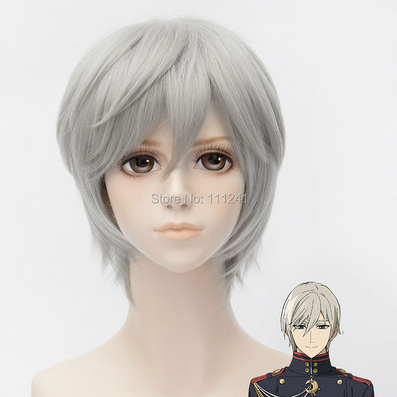 hiiragi shinya Grey Golden Short Cosplay Anime Wig Heat Resistance Synthetic Party Hair - CUSTOMIZED COSPLAY WIGS Ltd. Store 111241 store