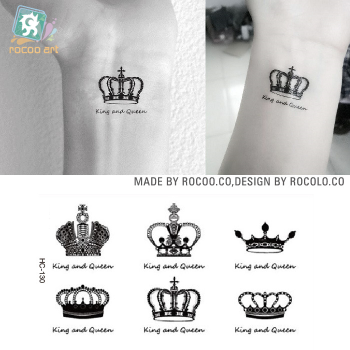 New Creative Design Crown Pattern Temporary Tattoos Arm And Wrist Women Men Style Disposable Waterproof Flash Tattoo(China (Mainland))