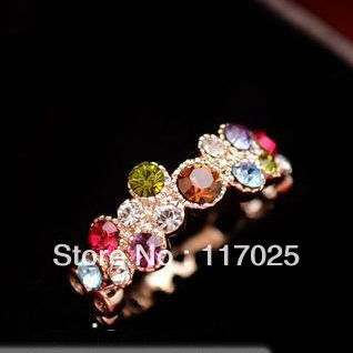 romantic flower sweet 18 k rose gold plated ring SWA Austrian crystals - jam wu 's store