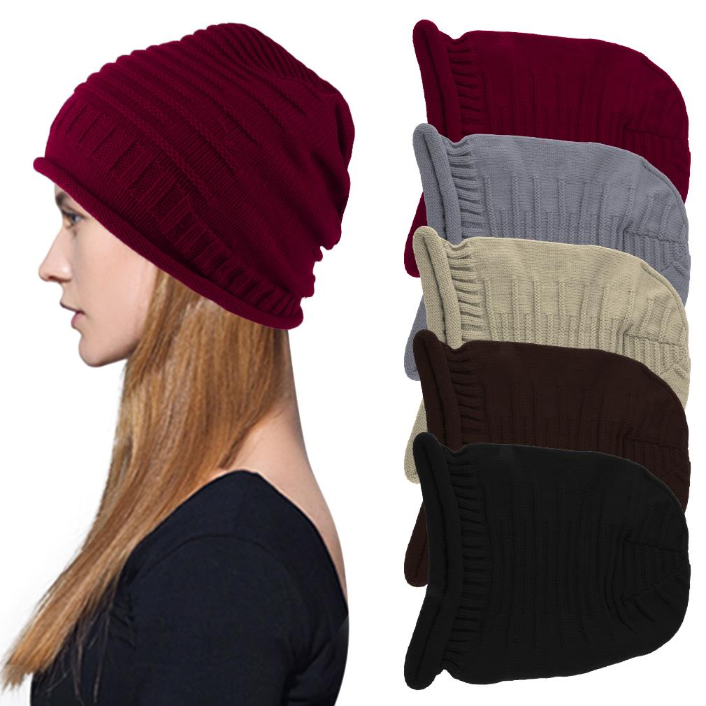 Men Women Slouch Beanie Head Wrapped Hat Winter Ski Cap Warm Solid knitted High Quality(China (Mainland))