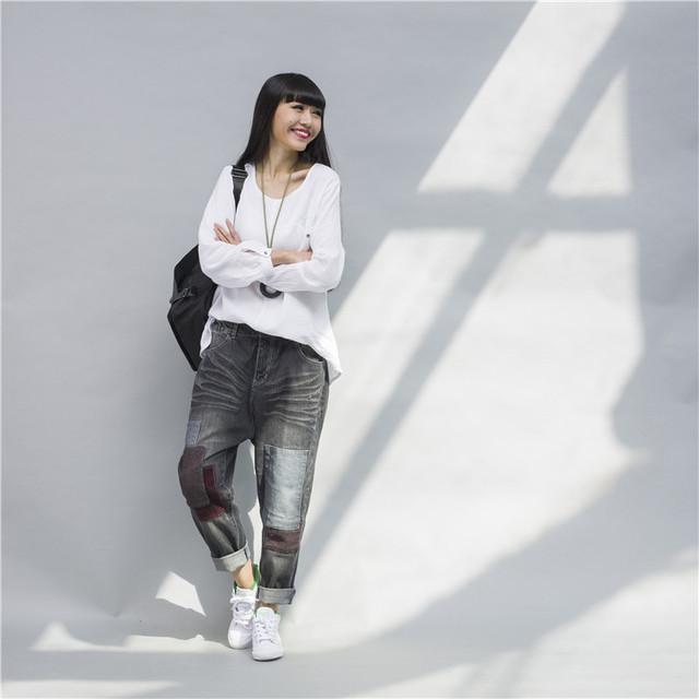 Мода широкий бойфренд джинсы для женщин проблемных джинсы разорвал старинные омывается ...