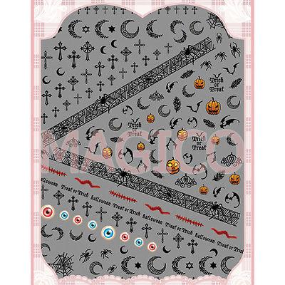 1 Sheet Halloween Pumpkin Moon Image Nail Stickers Cool Black Spider Web Cross 3D Nail Art Stickers Hot(China (Mainland))